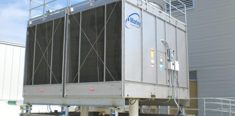 large, outdoor cooling tower system