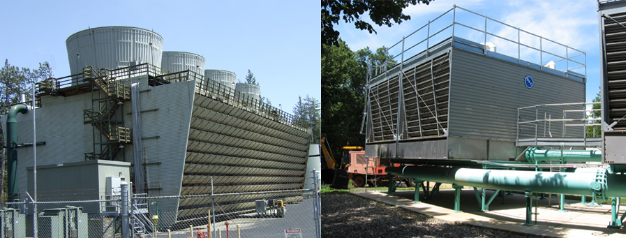 2 pictures of large cooling tower systems outside