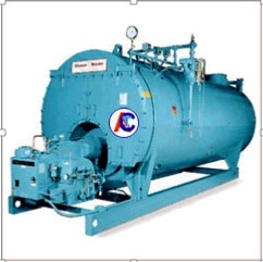 large, blue steam boiler
